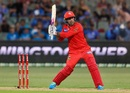 Mohammad Nabi shapes to dispatch the ball, Adelaide Strikers vs Melbourne Renegades, BBL 2020-21, Adelaide, January 8, 2021