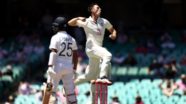 Pat Cummins leaps up in joy after getting rid of Cheteshwar Pujara with a jaffa