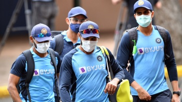 Indian players and support staffers arrive for a training session in Sydney