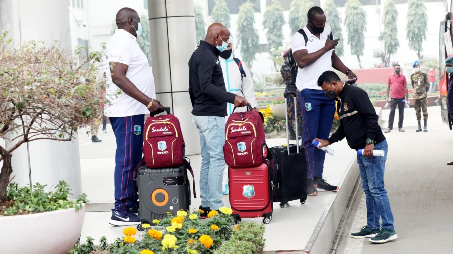 The West Indies contigenent get their belongings sanitised in Dhaka
