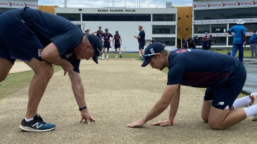 Chris Silverwood and Joe Root, England's coach and captain, inspect the Galle pitch