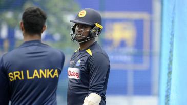 Angelo Mathews during a Sri Lanka nets session