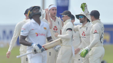 Stuart Broad claimed the big wicket of Angelo Mathews