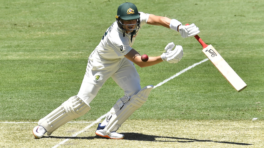 Marnus Labuschagne manoeuvres the ball into the off side