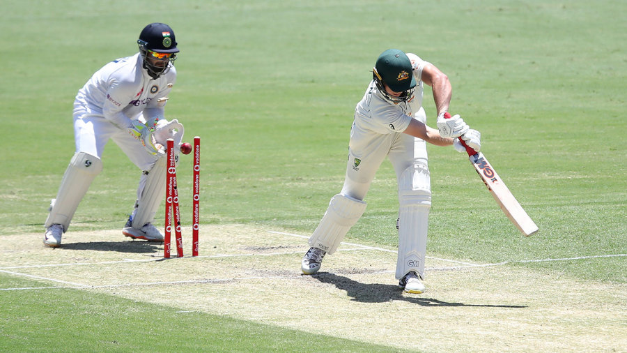 Cameron Green played down the wrong line and was bowled