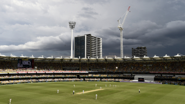 Grey clouds hover close to the Gabba around tea time