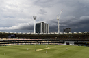 Grey clouds hover close to the Gabba around tea time, Australia vs India, 4th Test, Brisbane, 2nd day, January 16, 2021