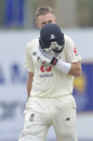 Joe Root kisses the badge after reaching 200, Sri Lanka v England, 1st Test, Galle, 3rd day, January 16, 2021