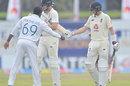 Angelo Mathews congratulates Joe Root after his double-century, Sri Lanka v England, 1st Test, Galle, 3rd day, January 16, 2021