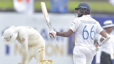 Lahiru Thirimanne celebrates reaching fifty