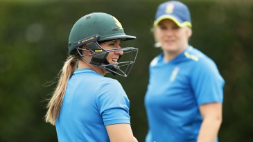 Mignon du Preez during a practice session ahead of the Women's World T20 semi-final