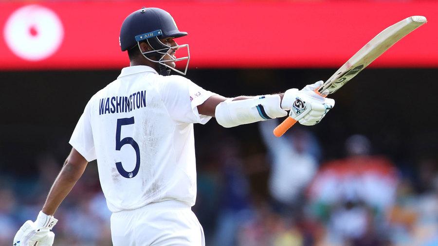 Washington Sundar celebrates his half-century
