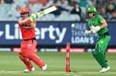 Seb Gotch looks on as Sam Harper cracks a pull, Melbourne Stars v Melbourne Renegades, BBL 2020-21, Melbourne, January 17, 2021