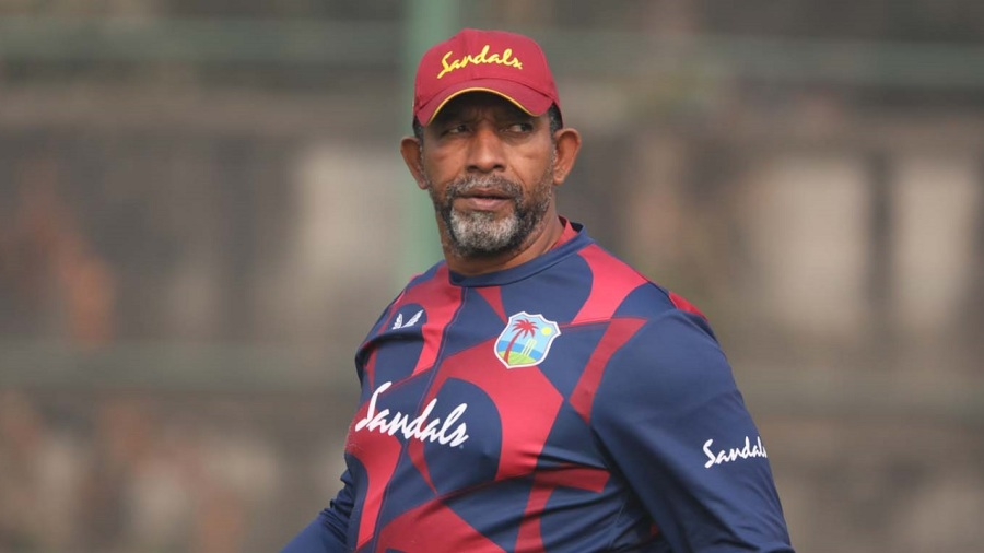 Phil Simmons keeps an eye on a West Indies training session