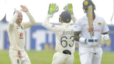 Jack Leach celebrates after taking his fifth wicket