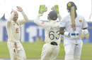 Jack Leach celebrates after taking his fifth wicket, Sri Lanka v England, 1st Test, Galle, 4th day, January 17, 2021