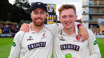 Jack Leach and Dom Bess celebrate after Somerset's escape from relegation in 2017