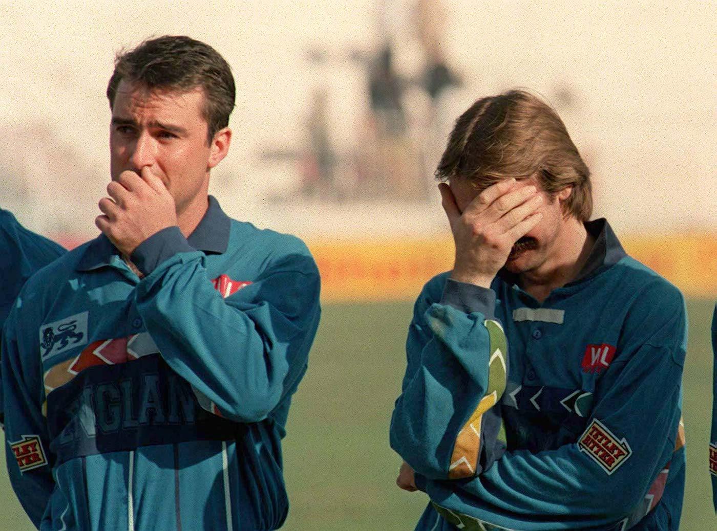 England are crestfallen after their quarter-final defeat to Sri Lanka in the 1996 World Cup
