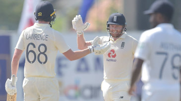 Dan Lawrence and Jonny Bairstow celebrate the moment of victory