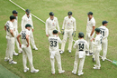 Tim Paine addresses Australia's huddle before the start of day five, Australia vs India, 4th Test, Brisbane, 5th day, January 19, 2021