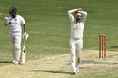 Nathan Lyon reacts to a close shave, Australia vs India, 4th Test, Brisbane, 5th day, January 19, 2021