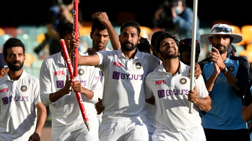 Mohammed Siraj and Shardul Thakur take the victory lap with their team-mates