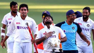 Rishabh Pant takes a moment to relish the win
