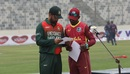 Tamim Iqbal and Jason Mohammed at the toss, Bangladesh v West Indies, 1st ODI, Mirpur, January 20, 2021