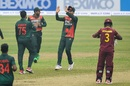 Shakib Al Hasan is congratulated for a wicket, Bangladesh v West Indies, 1st ODI, Mirpur, January 20, 2021