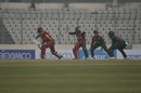 Bangladesh fielders appeal as Nkrumah Bonner is trapped in front of the stumps, Bangladesh v West Indies, 1st ODI, Mirpur, January 20, 2021
