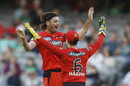 Zak Evans celebrates after taking two wickets in two balls, Melbourne Renegades vs Melbourne Stars, BBL 2020-21, Docklands, January 20, 2021