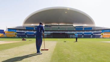 Groundstaff prepare the Abu Dhabi pitch