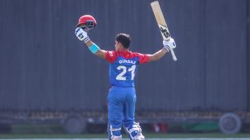 Rahmanullah Gurbaz celebrates his hundred on debut