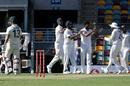 T Natarajan celebrates with team-mates after dismissing Matthew Wade, Australia vs India, 4th Test, Brisbane, 1st day, January 15, 2020