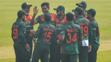 Mustafizur Rahman celebrates a wicket
