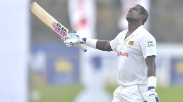 Angelo Mathews made his first hundred at home since 2015