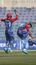 Mujeeb Ur Rahman and Rahmanullah Gurbaz celebrate a wicket, Afghanistan vs Ireland, 2nd ODI, Abu Dhabi, January 24, 2021