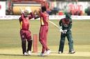 Alzarri Joseph celebrates the wicket of Liton Das with wicketkeeper Jahmar Hamilton, Bangladesh vs West Indies, 3rd ODI, Chattogram, January 25, 2020