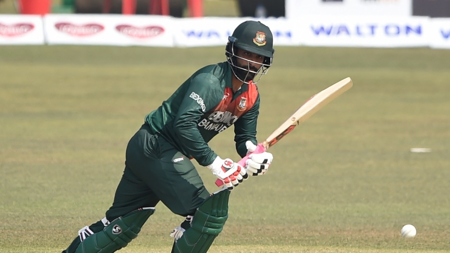 Tamim Iqbal taps one to the leg side