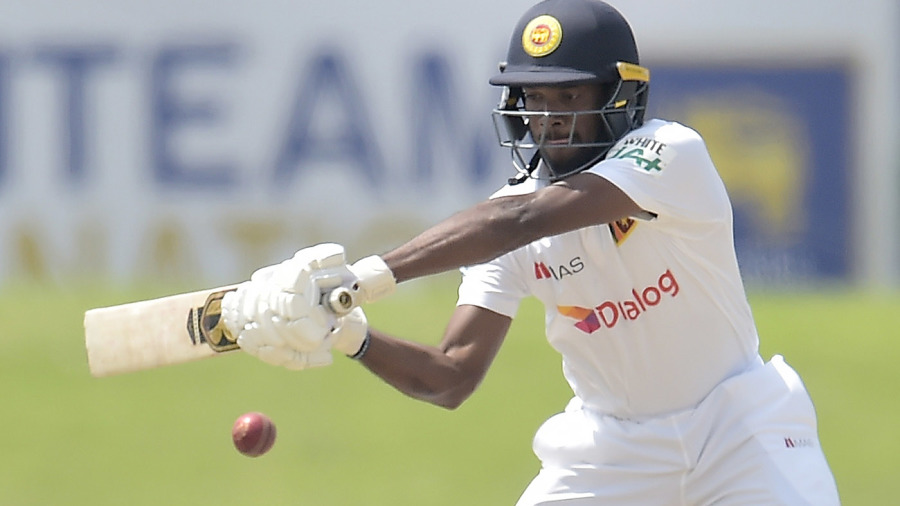 Ramesh Mendis cuts during Sri Lanka's second innings