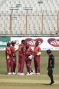 Alzarri Joseph celebrates the wicket of Tamim Iqbal with his team-mates, Bangladesh vs West Indies, 3rd ODI, Chattogram, January 25, 2020