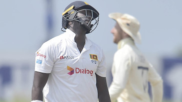Angelo Mathews was bowled attempting to sweep Dom Bess