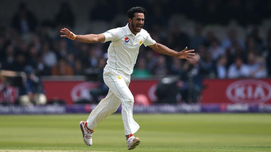 Hasan Ali celebrates a wicket