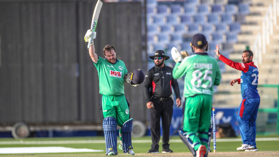 Paul Stirling celebrates getting to a second successive century against Afghanistan