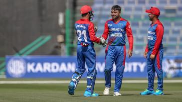 Rashid Khan celebrates a breakthrough