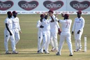 Kemar Roach is congratulated for a wicket, Bangladesh vs West Indies, 1st Test, Chattogram, Day 1, February 3, 2021