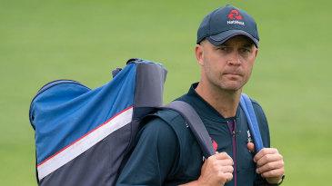 Jonathan Trott walks to practice during the England-Pakistan series
