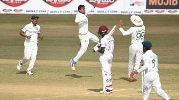 Mehidy Hasan Miraz is jubilant after dismissing Jermaine Blackwood