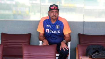 India coach Ravi Shastri watches proceedings