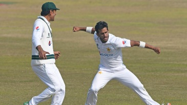 Hasan Ali celebrates after completing his four-for